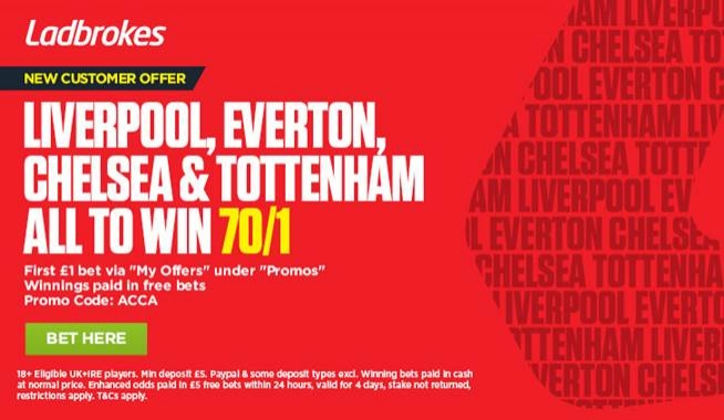 Get 70/1 Liverpool, Everton, Chelsea & Tottenham All To Win