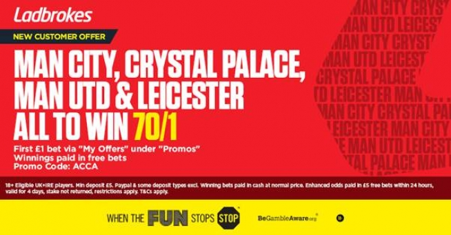 Get 70/1 Man City, C. Palace, Man Utd & Leicester all to win